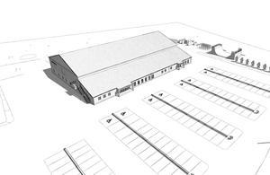 Det finns idéer om att använda området bortanför hallen till spontanidrottsaktiviteter så därför har det tagits med i skisserna.