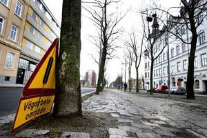 Plats för tunnel. Här ville Gävle kommun placera tunneln, men förslaget avslogs, bland annat eftersom alla träden på bilden skulle tas bort.
