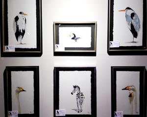 Här är några av Stefan Gustavssons fåglar, och också en... zebra.Foto: Barbro Nyblom