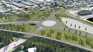 """Nya rondellen i """"OK-korsningen"""", sedd från Notgården, Gonäsvägen. Enligt kommunen är planen att börja med OK-korsningen när vägombyggnaden inleds våren eller sommaren 2020. Skiss: Sweco"""