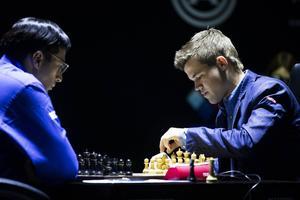 På SVT Play går det att följa den norske schackvärldsmästaren Magnus Carlsen som just nu spelar VM-match mot indiske utmanaren Viswanathan Anand.