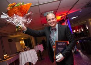 Johan Olsson var glad över att bli utsedd som årets företagare i Ovanåker.
