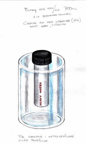 En av Christian Beijers tidiga skisser av vodkaflaskans design.