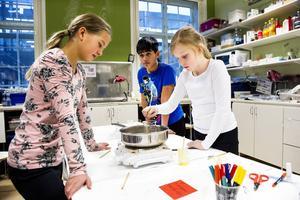 Hanna Berglund, Linus Brodin och Matilda Granberg lärde sig göra eget lypsyl på Sportlovs-Komtek mars 2014.