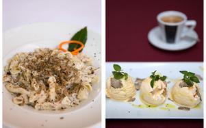 Pasta med tryffel på Al Gastaldo i Rovinj och glass med tryffel på restaurang La Grisa.