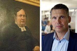 Lika som bär? Mittmedias VD Per Bowallius och storebror till hans farfars farfar, Per Erik Bovallius, som verkade som präst i Karbenning i mitten av 1800-talet. Bild: Jessica Andersson och Claes Söderberg