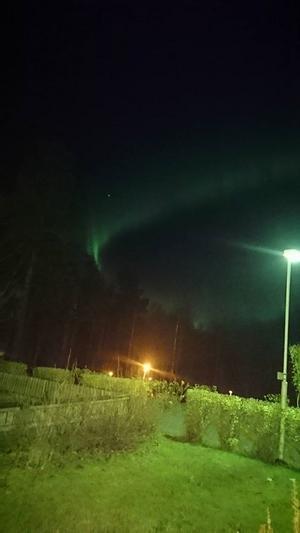 Även under onsdagskvällen var norrskenet framme. Den här bilden är tagen i Granloholm i Sundsvall. Foto: Erica Rendahl.