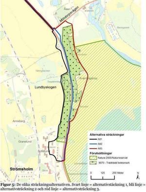 Trafikverket och Hallstahammars kommun får dra gång- och cykelbanan längs väg 252:s östra sida (blå linje). Kartan hämtad från Miljökonsekvensbeskrivningen.