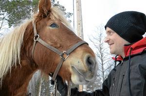 Ungt par. Tobias Andersson, 27, med Emelia, en treårig ardenner, hör till dagens yngsta skogskörningsekipage.