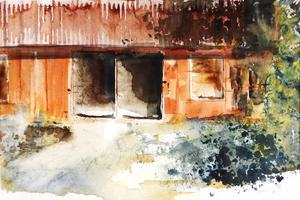 Målningen Ladan ingår i Karin Wahlströms utställning i Hallstavik.