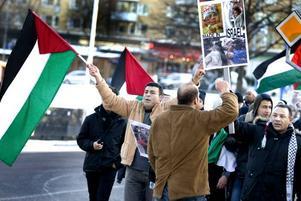 Cirka 150 personer demonstrerade mot Israels bombningar i Gaza.