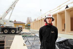 Robin Wikström, JR Dalabygg AB, arbetsledare vid utbyggnaden av Geschwornergården på gruvområdet i Falun.