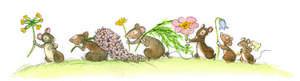De busiga musungarna plockar sju sorters blommor som de lägger under tomtens huvudkudde.    Illustration: Eva Eriksson