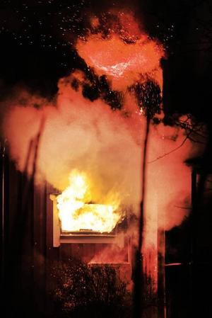 Våldsam villabrand. Ett tvåvånings trähus på Flerängsvägen i Skutskär brann på söndagskvällen. En kvinna och två barn lyckades ta sig ut utan brännskador. Familjen förlorade sitt hus och alla ägodelar och troligen förolyckades även två hundar.