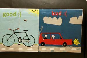 Goda saker för miljön är till exempel att cykla, och dåliga att köra mycket bil.