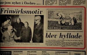 :Frimärkspar. När Helmer och Olga Mälman uppvaktades 1973 var även deras dotter Elna Hallén med.