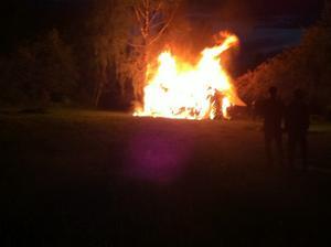 Branden i Hampetorp, förmodligen orsakat av åskvädret.