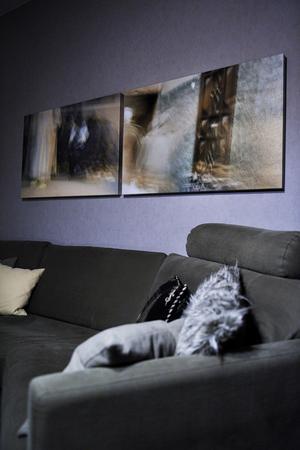 Fångat ögonblick. Över soffan hänger fotografier som Lena tagit under en resa till Marrakech.