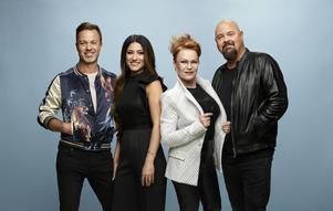 Idol. Säsong XIII. 2017. Alexander Kronlund, Nikki Amini, Kishti Tomita och Anders Bagge.