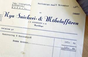 Kvittot kvar från förra renoveringen 1947.
