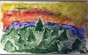 Elias målade en skog.FOTO: ANNA ENBOM