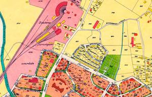 År 1929. Karta över del av Örebro stad 1929. Där Berg låg är nu SJ:s område.