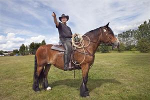 Daniel Grenander på hästen Netta. Fram tills att Netta var 19 år gammal användes hon som körhäst. Då bestämde sig Daniel för att rida in henne och nu hon har bland annat gått som forbondehäst till Röros.