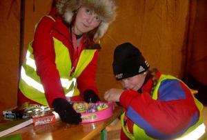 Jasmine Ryninen och Emelie Åslund försökte få upp batteriluckan till en leksak i barnhörnan på området. En lämplig skruvmejsel fattades.