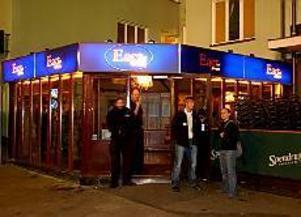 Restaurang East vid Råsunda östra läktare i Solna. På den här platsen greps den 35-åriga man som anhållits i sin frånvaro misstänkt för mordet på utrikesminister Anna Lindh.\nFoto: Anders Wiklund/SCANPIX