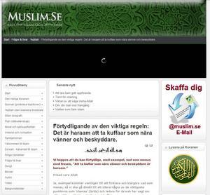 Skärmdum från muslim.se