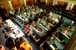 Hamnar i fokus? Ett av förslagen att hyfsa debattklimatet i Kumlas kommunfullmäktige är att ledamöterna filmas. I dag är det bara presidium och talare som filmas framifrån. Arkivfoto: Göran Kempe