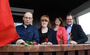 Från vänster: Lars Andreasson, Strömsunds Arbetarekommun, Ida Svanberg, SSU, Linda Linmo, Fylkestinget i Norge och Riksdagsledamot Gunnar Sandberg.