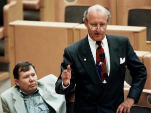 Ny Demokrati. Ian Wachtmeister (till höger) och Bert Karlsson i riksdagen under en allmänpolitisk debatt 14 oktober 1992.