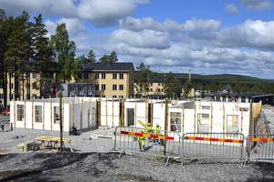 Den här marken sålde Hans Bark till företaget SHH Bostad och där byggs nu fyra hus med 44 bostadsrätter.