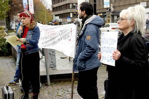 Anna Jörgensdotter talade vid demonstrationen på Rådhustorget.