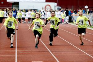 En kvartett av 60 meter-sprinters från Sofiedalsskolan 5A: Alex Schröder, Nils Olsson (som vann loppet), Ludvig Harich och WIlliam Halldén.