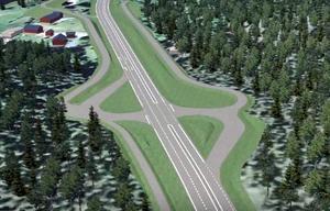 Korsning Solbacka, efter den planerade ombyggnaden av E16/väg 70.