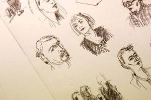 Porträtt ur  en skissbok.  Odd Larsson tecknar av folk hela tiden.