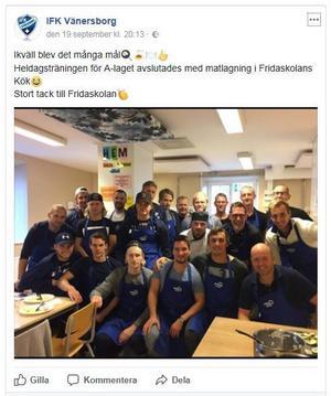 Skärmdump från IFK Vänersborgs Facebook-sida.