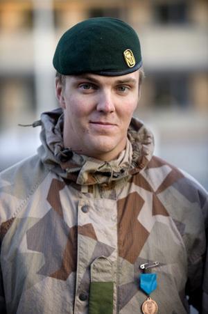 Victor Sundin från Östersund, nyss hemkommen från tjänstgöring i Afghanistan.
