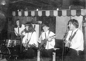 Avalons orkester 1966, från vänster  Gillis Blomqvist, Bosse Gustafsson, Evert Blomqvist och Staffan Westberg.