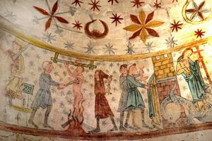 Väggmålning (del av Margaretasviten) i Hackås kyrka.