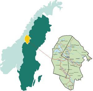 Karta över regionen Vaajma. Ordet betyder hjärta på sydsamiska och området är format just som ett mänskligt hjärta.