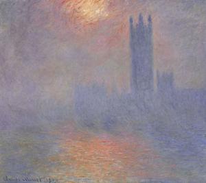 """Monet. """"London, Parlamentsbyggnaden. Solljus i dimman""""."""