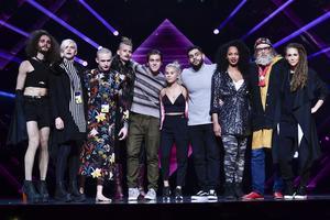 Alla deltagarna i deltävling 2 under repetionerna inför Melodifestivalens andra deltävling i Malmö arena.