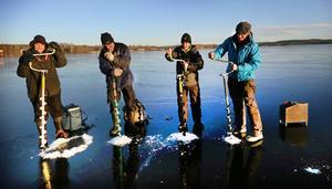 Isen på Runn kommer att hålla inför pimpel-SM den 7–8 februari konstaterar fyra pimpelentusiaster ur  arrangörsstaben Rosie Thörne, Jonas Gustafsson, Bernt Johansson och Per-Olof Liss.