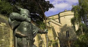 Staty av Robin Hood i Nottingham.