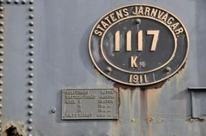 Den vackra skylten med lokets nummer och last- och vattenförråd. Lokets toppfart angvas till 60 km/tim.