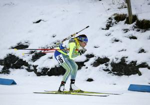 Elisabeth Högberg körde tredje sträckan för Sverige.
