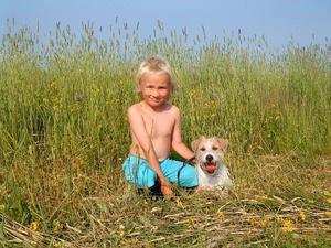 Tim och Lady på en grönskande sommaräng vid Bysingsberg på besök hos min väninna Lotta.